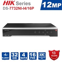 HIK English original NVR DS 7732NI I4/16P 16CH With POE Ports H.265 12MP NVR Support Alarm and Audio Output