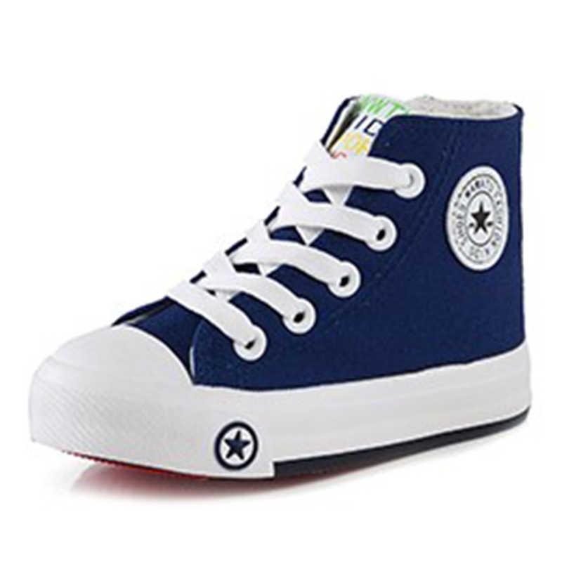 350be30fd 2019 весна и осень Детская текстильная обувь красочные высокие кроссовки  спортивная обувь для девочек мальчиков парусиновая
