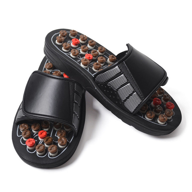 2 Colors One Pair Foot Massage Shoes Man And Women Rotating Foot Acupuncture Healthy Relaxation Slipper Sandals Reflex Stress 3