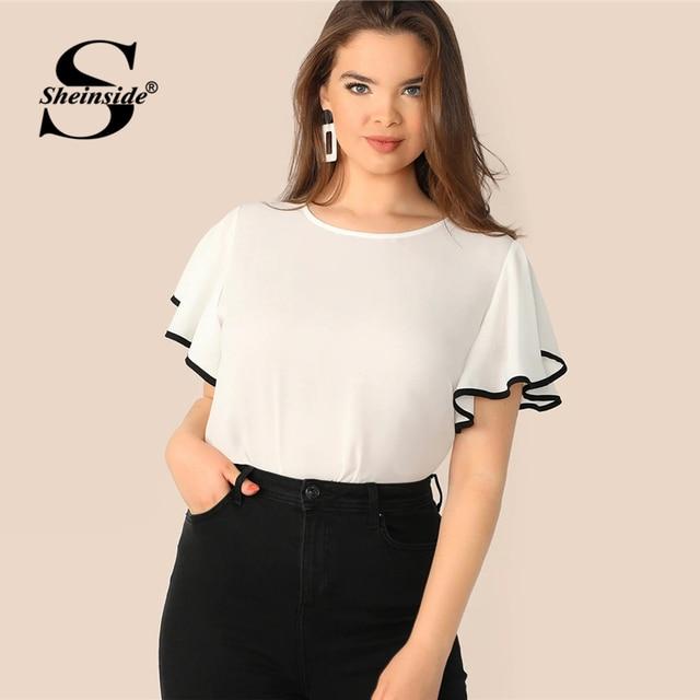 Sheinside Plus Size White Contrast Binding Flutter Sleeve Top Women 2019 Summer Flounce Sleeve Blouse Ladies Short Sleeve Tops