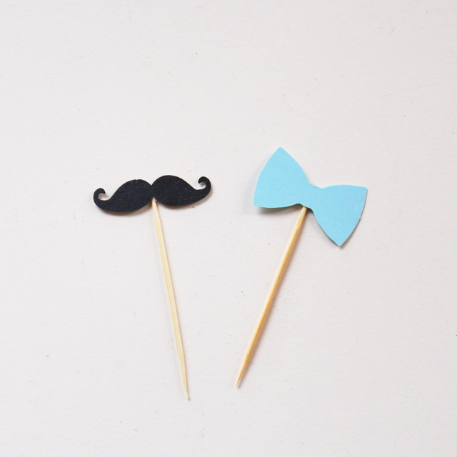 Mustache Cupcake Toppers Little Man Birthday Party Topper Baby Boy Decor Bow