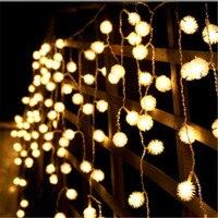 Colorful 4x1.5m LED Snow Ball Curtain String Light New Year Christmas tree garland Wedding Party lighting lamp luminaria decor