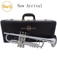 Taiwan Bach Original 5 times Silver Plated LT190S98 Bb Professional trumpet HARD LEATHER Case Top musical instrument Brass bugle