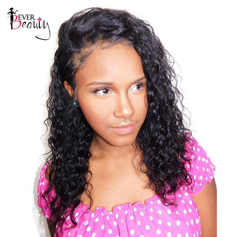 Ever Beauty Full Lace Human Hair Wigs Pre Plucked Brazilian Loose Curly Remy Hair Natural Black 12-24inch