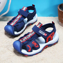 ULKNN Childrens shoes boys sandals 2019 summer new big boy kids sports soft bottom baotou beach casual shoe black blue