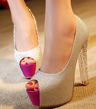 Free shipping summer high heels 14cm thick waterproof fish head shoes crystal sandals spell color shoes