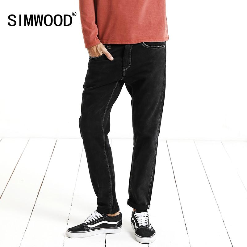 SIMWOOD Redline   Jeans   Men Slim Fit Skinny Casual Pants 2019 Winter New Fashion High Quality Denim Trousers Plus Size NC017029