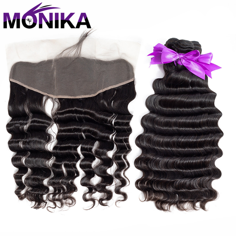 Monika Products Human Hair 3 Bundles Peruvian Loose Deep Wave Bundles With Ear To Ear Lace Frontal Closure 8-26 Inch