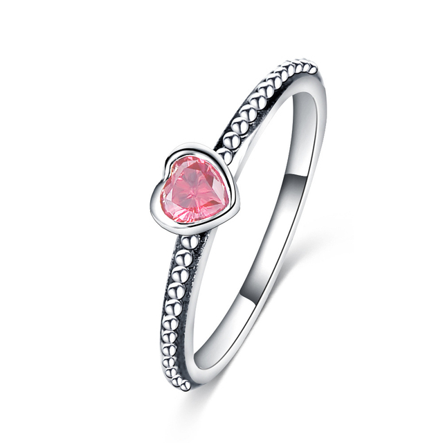 c800e4c4a Dropshipping Fashion Silver Color Love Heart Pandora Ring Stackable Ring  with 3 Color Zircon for Women Wedding Jewelry Gift