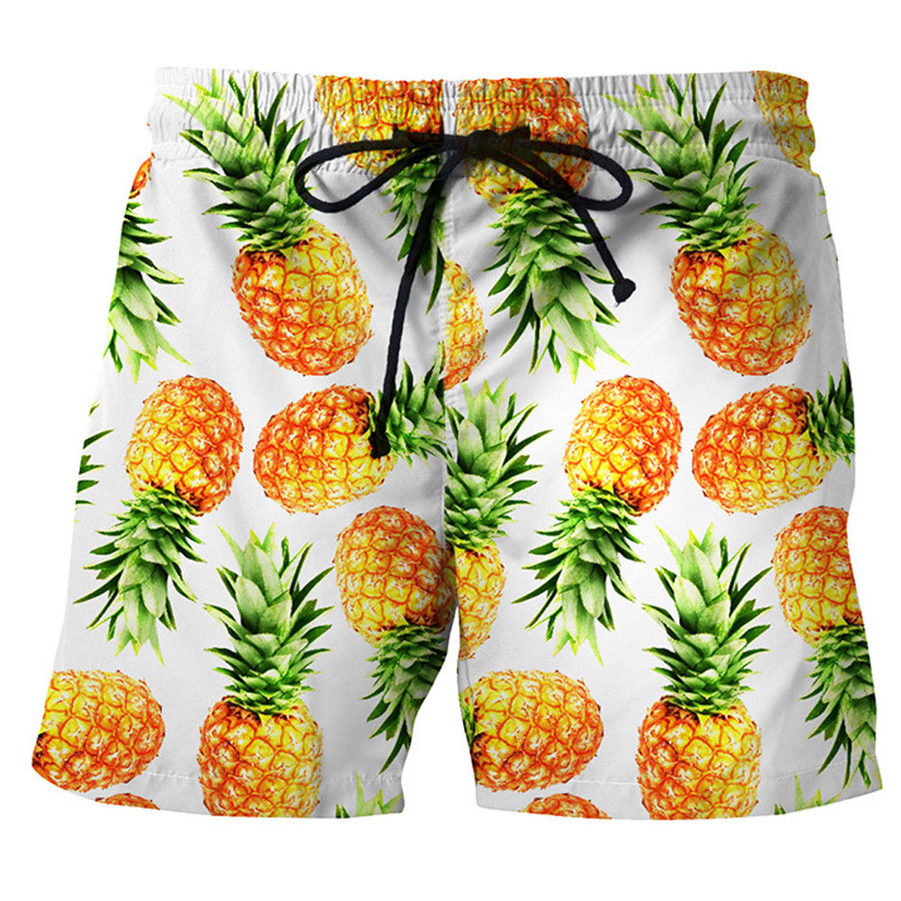 Summer New Men 3D pineapple Print swimwear shorts casual summer beach pants Board Shorts Short Pants