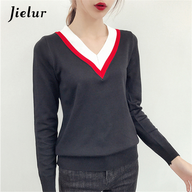 25144470c3e9 2019 Autumn New Striped V-neck Knitted Sweater Casual Simple Long Sleeve  Top Female Khaki