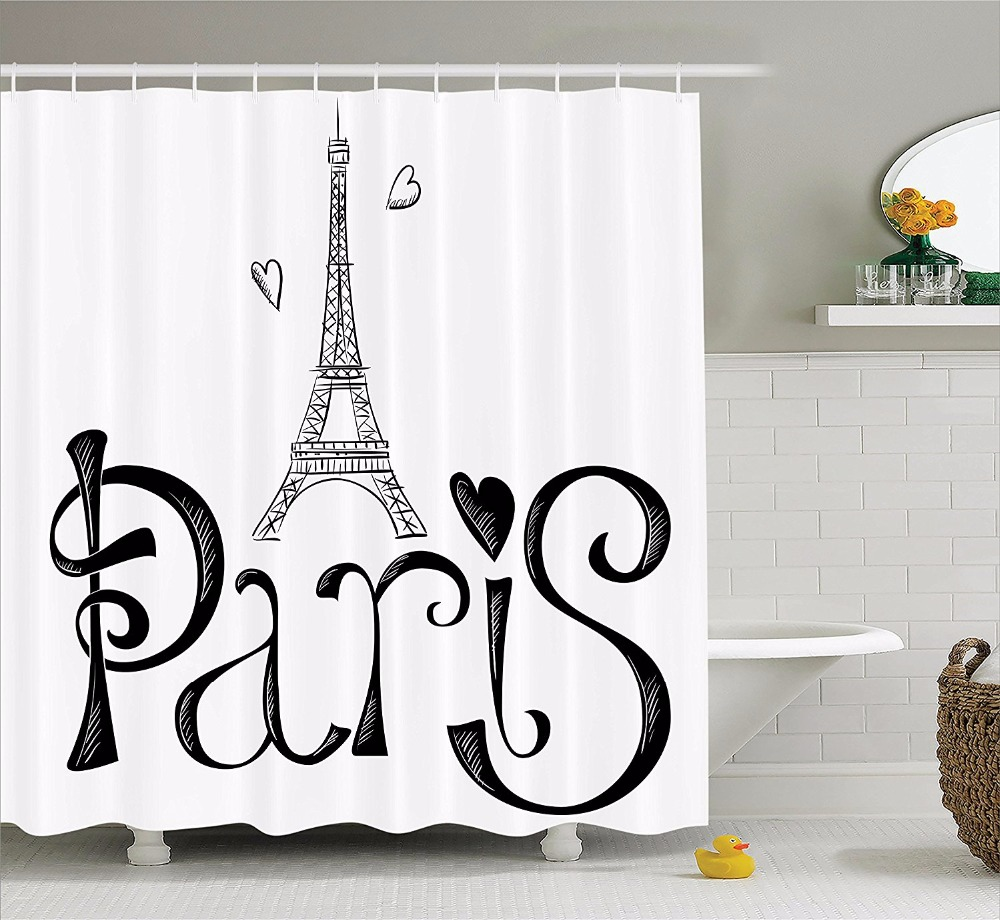 Eiffel tower bathroom decor - High Quality Arts Shower Curtains Eiffel Tower Paris Love Sketch Bathroom Decorative Modern Waterproof Shower Curtains
