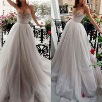 2018 New Tulle Evening Dress Strapless A Line Puffy Pearls Corset Formal Occasion Dresses Cheap Women Prom Party Gowns