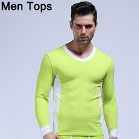 חולצות הכותנה Mens תרמית WJ תחתונים תרמו סקסי השרוול הארוך V גבר חולצות צוואר Slim T הומו זכר החורף חמה הלבשת בתוספת גודל