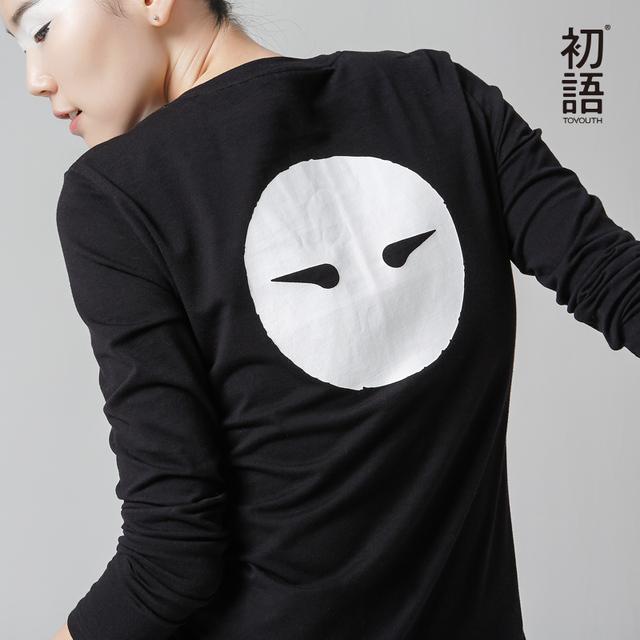 Toyouth Mujeres Invierno Nueva Camisetas Impresión de la letra Del O-cuello de Manga Larga Base Tees Tops Flojos Ocasionales