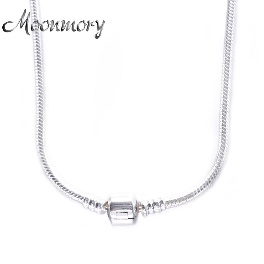 2017 European Popular 925 Sterling Silver Snake Chain Necklace Fits Charms Bead With Clasp For Men