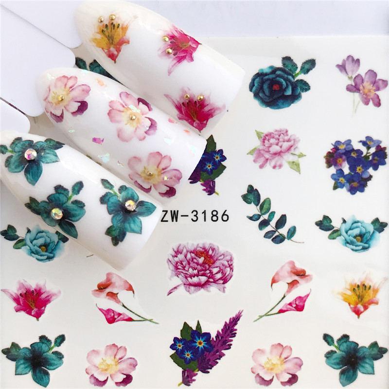 Ywk arte do prego água decalques adesivos transferência rink rosas flores gel polonês manicure decoração design romântico arte do prego adesivos