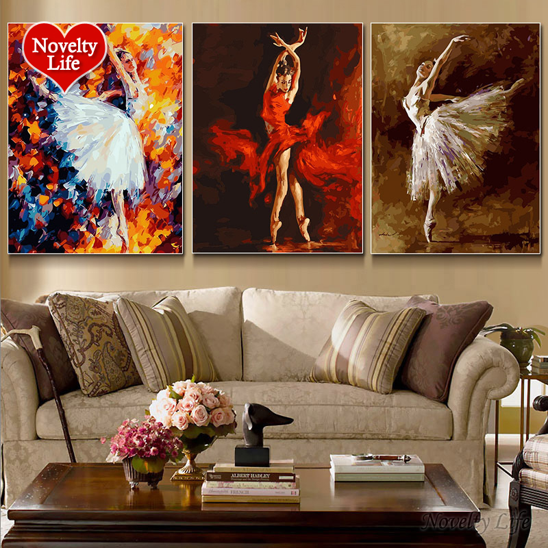 3 Pcs/Set Frame Picture DIY Painting by Numbers Ballet Dancer Girl Abstract Drawing by Numbers Unique Gift Coloring Wall Acrylic