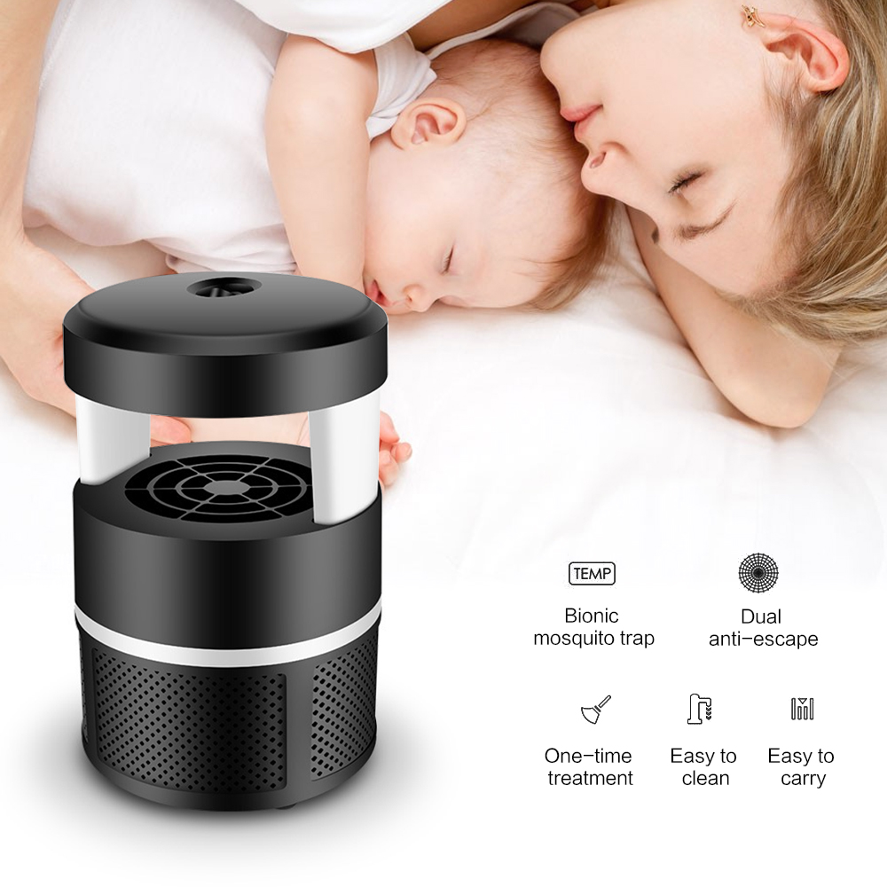 BORUiT 5W LED Mosquito Lamp USB Insect Inhaler Trap 1800RPM Nine-leaf Spiral Silent Fan Electronic Mosquito Killer for Camping