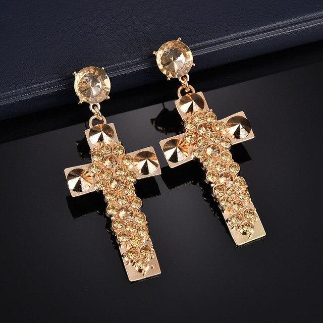 Terreau Kathy 2018 New Fashon Exaggerated Rhinestone Cross Earrings Gold  Color Big Earrings For Women Vintage Jewelry Brincos 98735eb7a0db