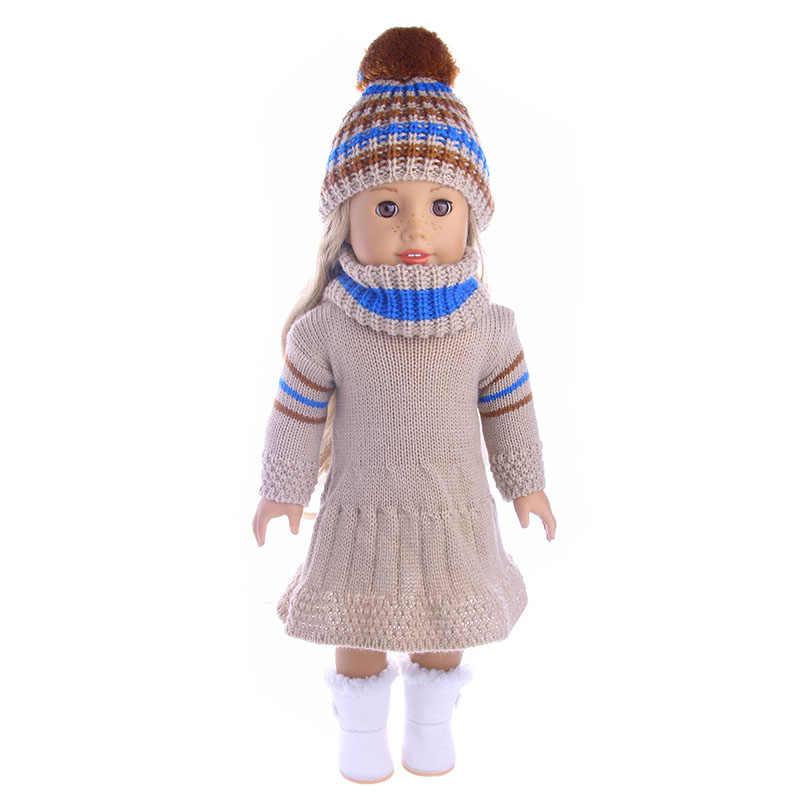 เสื้อผ้าตุ๊กตา 4 Pcs + ถักหมวกและ Plush BOOTS สำหรับตุ๊กตาอเมริกัน 18 นิ้ว & 43 ซม.Born ตุ๊กตาสำหรับสาวรุ่นคริสต์มาส