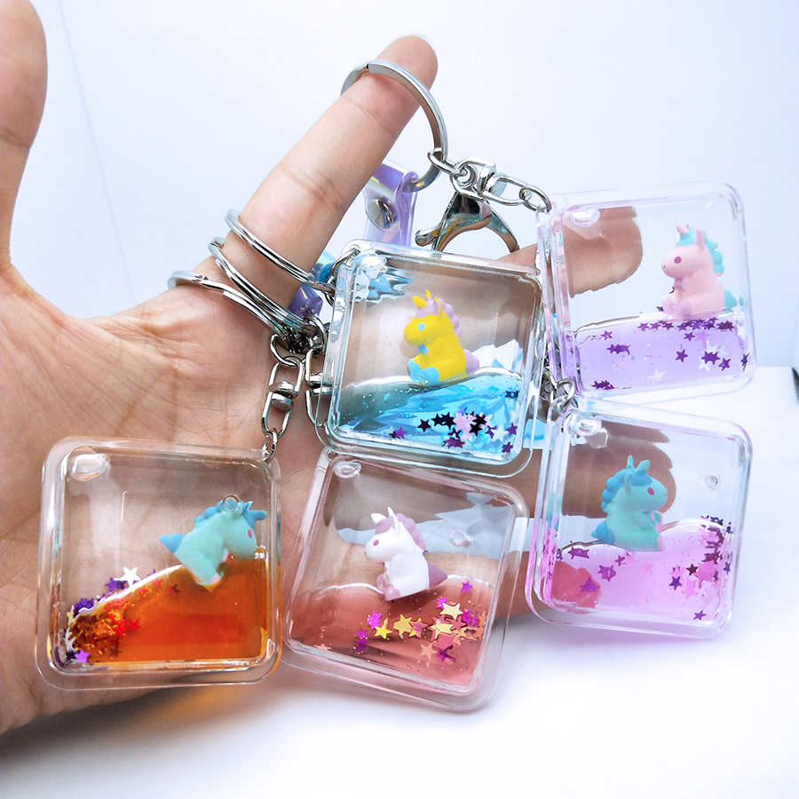 Unicorn Glitter Keychain Pentagram Quicksand Keyring Floating Liquid Key Chain Backpack Pendant Couples Women Men Gift Key Fob