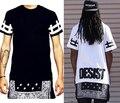 2015 Nova moda hip hop t-shirt bandana estilo verão camisa de manga curta tee estendida