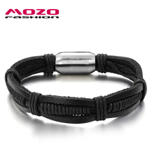 MOZO FASHION Hot Brand Jewelry Men Bracelets Genuine Leather Braided Rope Vintage Bracelet Steel Magnetic Buckle Bangles MPH903