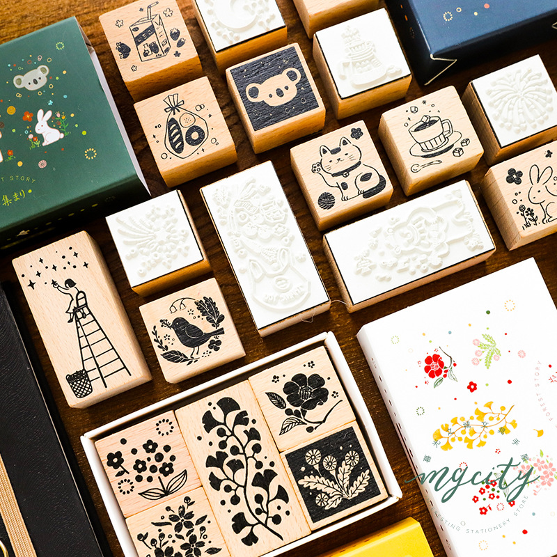 5Pcs/Lot Vintage The Night Of Forest Story Wood Stamp Set DIY Wooden Rubber Stamp For Scrapbooking Stationery Scrapbooking Stamp