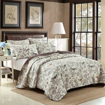CHAUSUB New European Quilt Set 3PCS Washed Cotton Quilts Bedspread Quilted Bed Cover Pillow Shams Printed Coverlet Set King Size