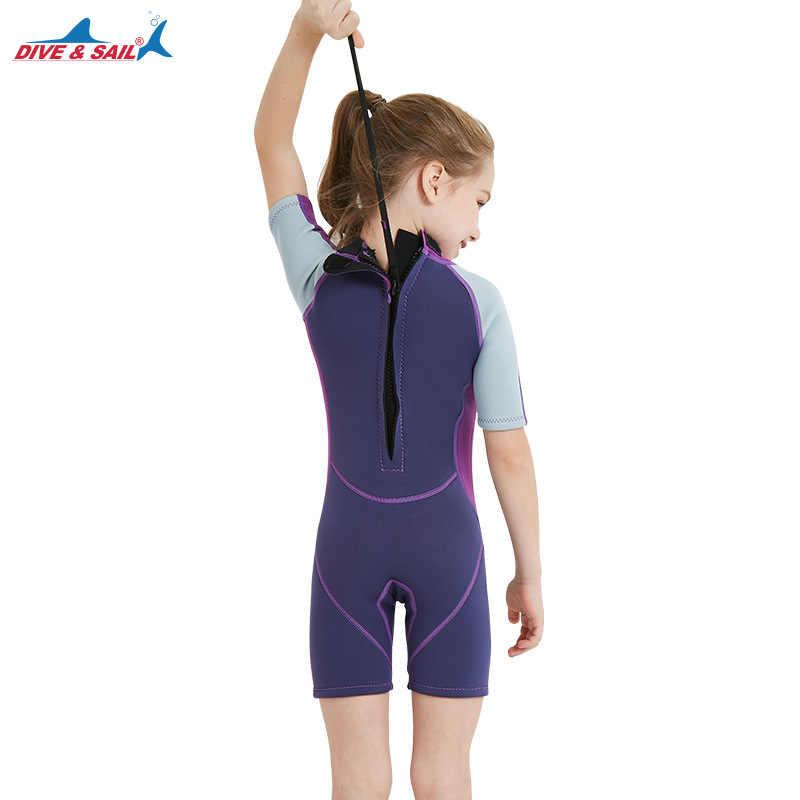 2018 Erkek Kız Wetsuit Shorty 2.5mm Neopren Wetsuits Geri Zip Kısa Kollu Bahar Sıcak mayo Mayo Banyo Takım Elbise Çocuklar