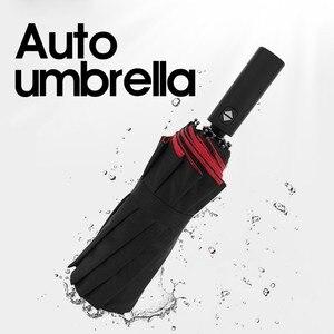 Image 4 - Otomatik Açık Yakın Şemsiye 12K Takviyeli Çift Kat Rüzgar Geçirmez Otomatik Katlanır Şemsiye Büyük Siyah Şemsiye Iş Için