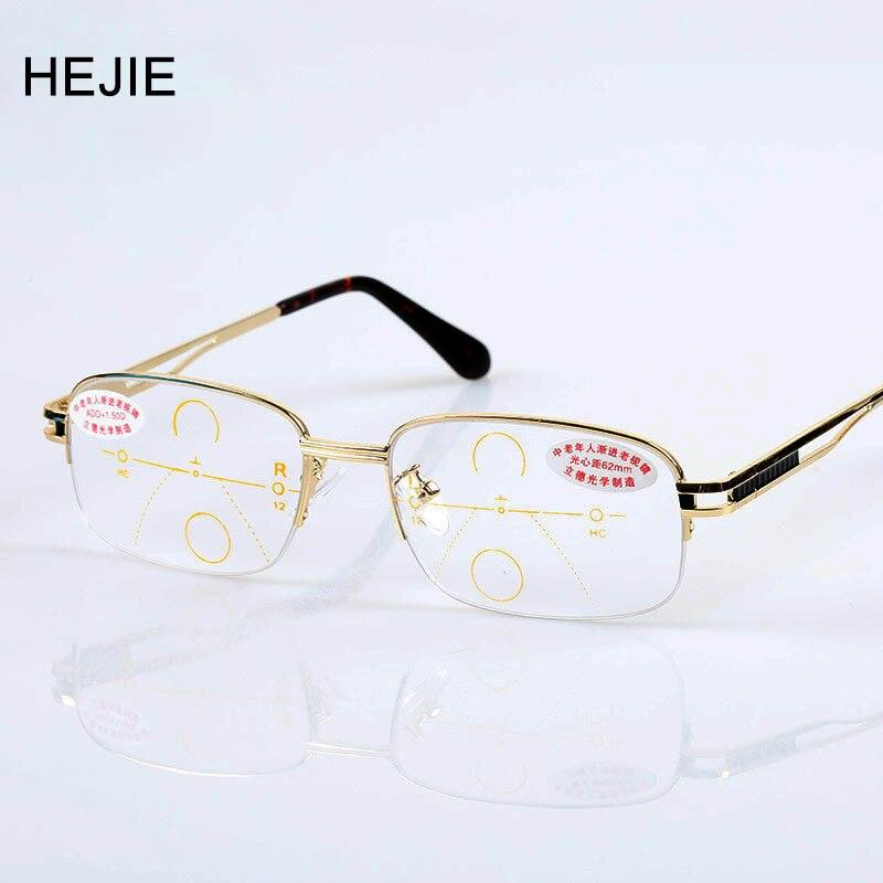Klasické pánské vícebarevné progresivní čtecí brýle z lehkých slitin Značka Obdélník Poloviční rámeček Vysoce kvalitní Diopter + 1,0- + 4,0 Y1054