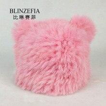 BLINZEFIA 2019 Knitted Real Rabbit Fur Winter Hats Bonnet Women Warm Cat Ears Shape Fur Cap Beanies Muts Gorro BZ6011