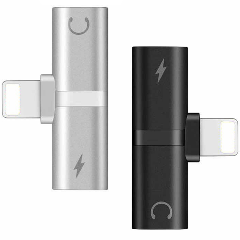 Dual Ports 8 Pin Charger Dock Splitter Adapter Audio Earplug Earbuds Charge AUX Converter For Lightning For IPhone IOS BFs4