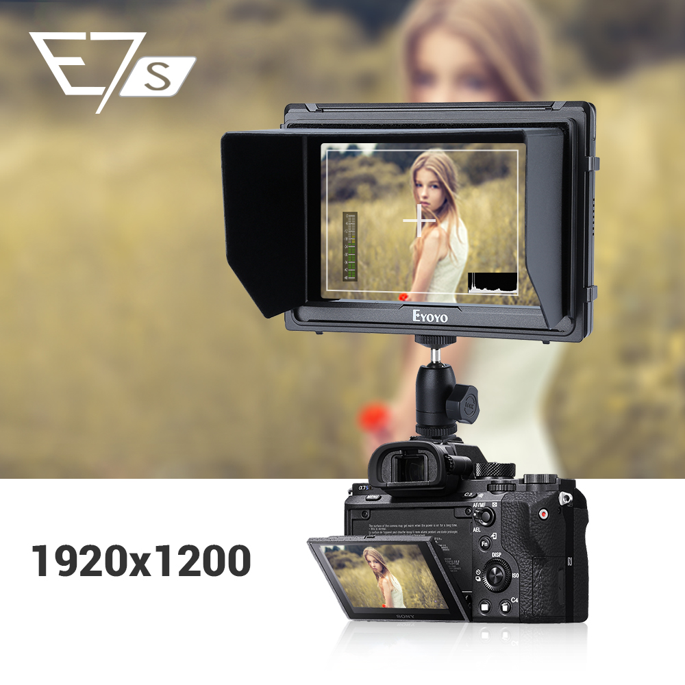 "Eyoyo E7S 4k ekran aparatu DSLR Full HD 1920x1200p 7 ""cal monitor zewnętrzny HDMI mała szczupła IPS kamera ekran wideo 4K"