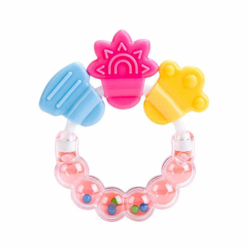 Sonajero de bebé de juguete campana de cama de silicona mancuerna Jingle cumpleaños Regalos dibujos animados bebé mordedor móviles educativos juguetes mordedor de dientes