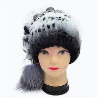 Winter Fur Beanies For Women Natural Rex Rabbit Fur Hats With Balls 2016 Casual Warm Trendy