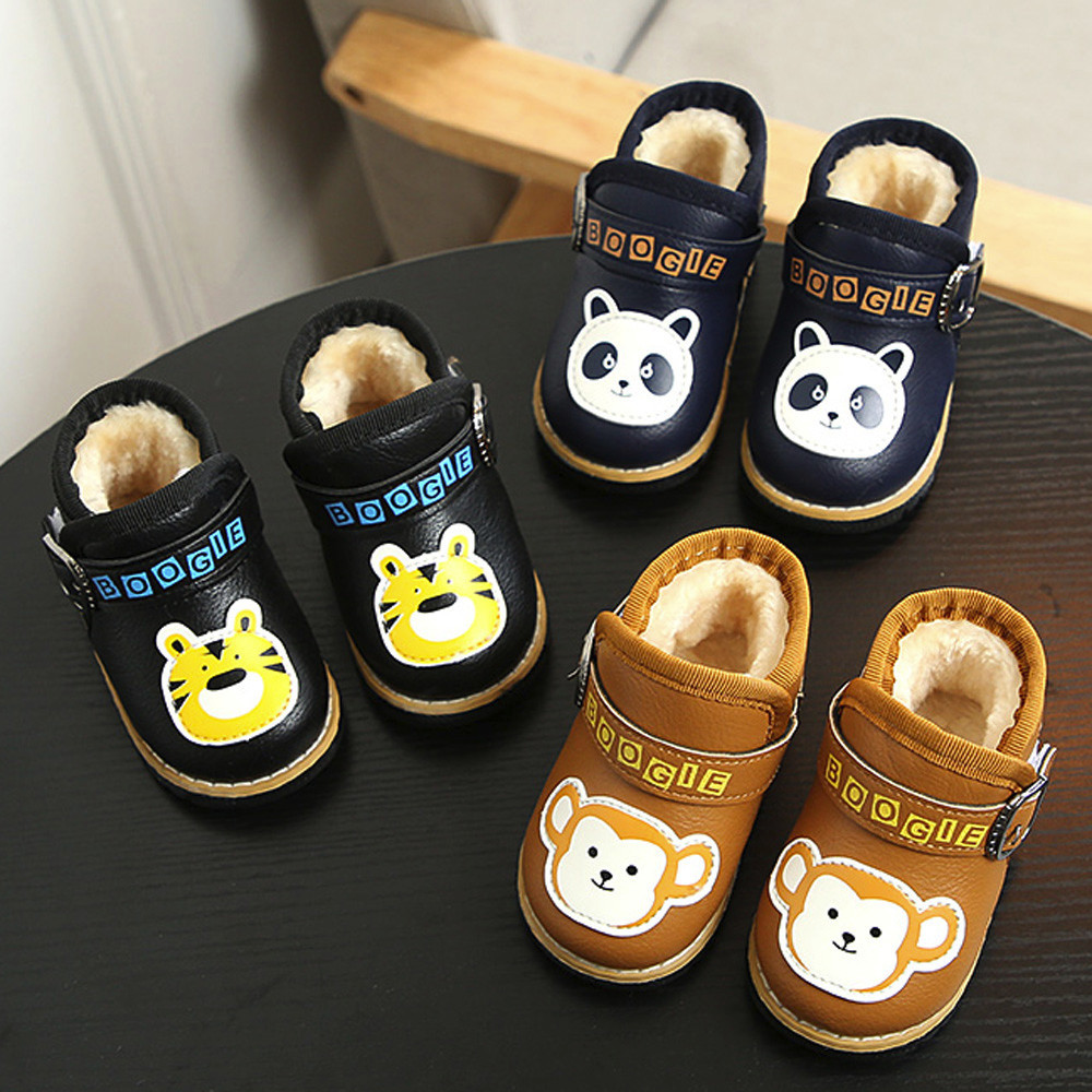 Baby Infant Shoes Girls Cartoon Leather Panda Tiger Monkey Boys Martin Sneakers Shoe Newborn Toddler First Walker Anti-Slip BFOF