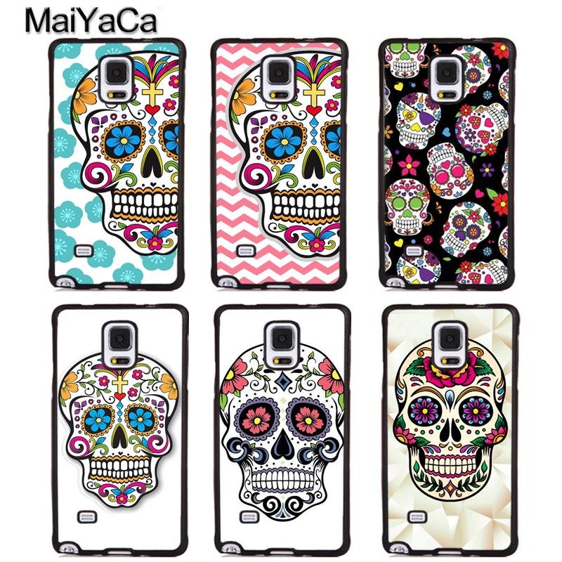 MaiYaCa Sugar Skull Day of the dead Soft Rubber Phone Cover For Samsung Galaxy S5 S6 S7 S8 S9 edge plus Note 4 5 8 Back Case