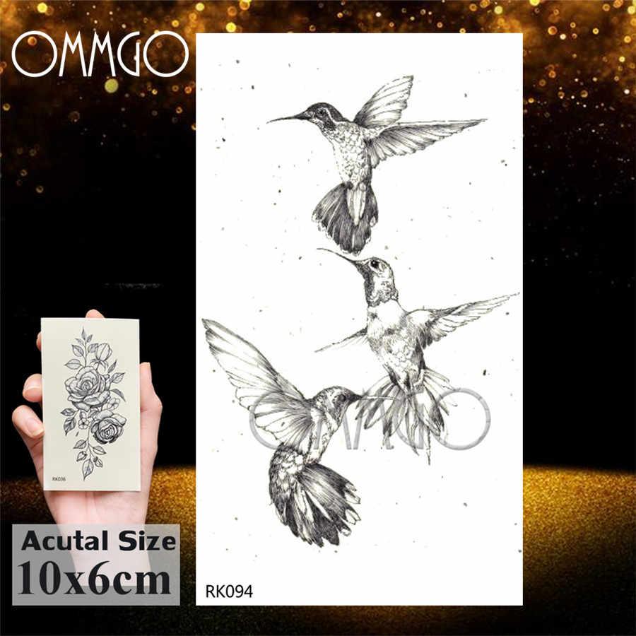 Ommgo Hình Học Chim Ruồi Tạm Thời Vòng Tròn Tròn Miếng Dán Hình Xăm Lá Pigeon Mũi Tên Hình Xăm Nghệ Thuật Thân Thể Đen Con Chim Giả Tatoo Giấy