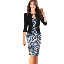 2015 New Women Dresses Elegant Faux Twinset Belted Tartan Floral Patchwork Wear to Work Business Pencil Sheath Bodycon Dress