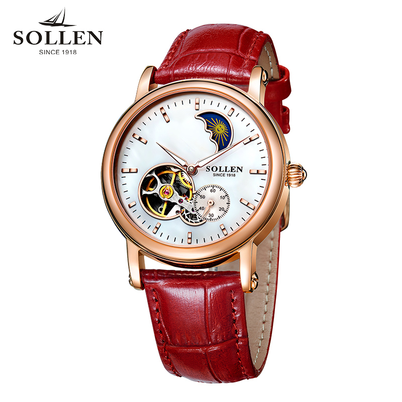 SOLLEN brand automatic mechanical high-end female models watch women hollow leather strap waterproof ladies Engagement gifts