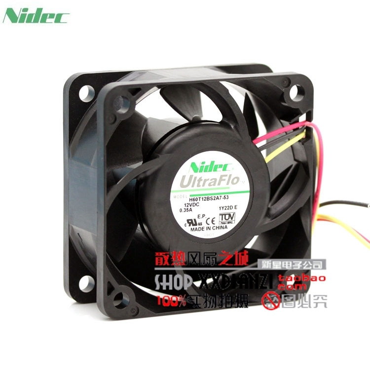 купить Original New nidec H60T12BS2A7-53 6025 6CM 12V 0.35A ultra-durable fan недорого
