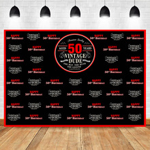 NeoBack 50th vintage dude Birthday Party Photo Background Black and Red The Man Myth Lecend Photography Backdrops