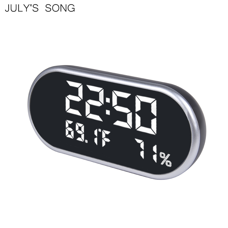 JULY'S SONG LED Mirror Alarm Clock USB Digital Clocks Electronic Table Watch Night Lights Time Temperature Display Desk Clocks