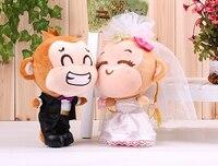 Peluche de felpa 35 cm amantes monos un par de juguetes de felpa yoyo y Cici boda muñeca suave regalo de boda t6290