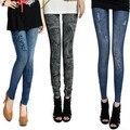 Leggings Senhora 2 Cores de Jeans Denim das Mulheres magras Bodycon Leggings Pants Jeggings Novo