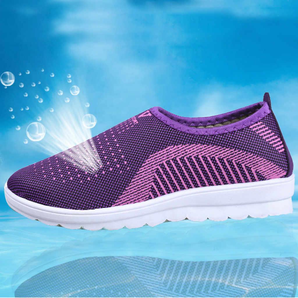 2019 Nieuwe vrouwen flats Mesh Platte Met Katoen Casual Wandelschoenen Streep Sneakers Loafers Zachte Schoenen zapatos planos de mujer # XP25