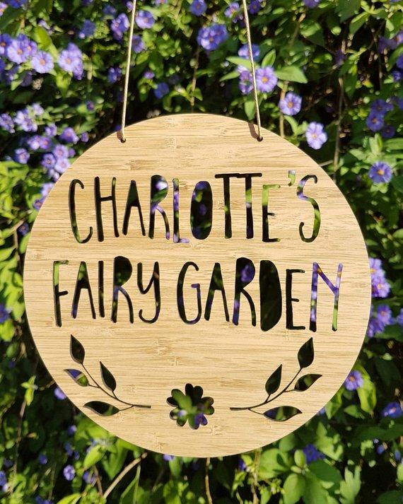 Us 9 89 10 Off Custom Wooden Fairy Garden Flower Name Door Wall Decor Bedroom Sign Nursery Decoration Birthday Gift Baby Shower In Party
